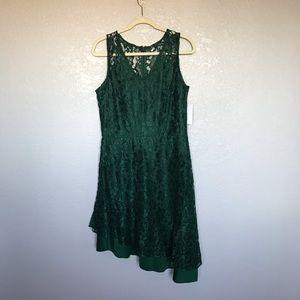 NWT En Focus Emerald Green Lace Dress sz 14